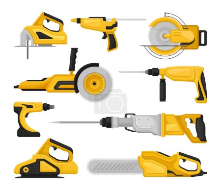 Illustration for Set of different power tools. Electric saws, sanding machine, hammer drills, glue gun. Professional building equipment. Cartoon vector icons. Colorful flat illustrations isolated on white background. - Royalty Free Image