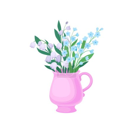Illustration for Bouquet of lilies of the valley and cornflowers in a pink mug. Vector illustration on white background. - Royalty Free Image