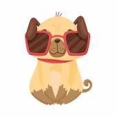 Cute pug in sunglasses Vector illustration on white background