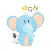 Cartoon blue elephant Vector illustration on a white background
