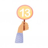 Round plate with the number 13 in hand Vector illustration on a white background