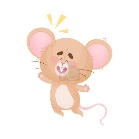 Illustration pour Mignonne souris humanisée joyeusement rebondi. Une nouvelle idée est venue. Illustration vectorielle . - image libre de droit