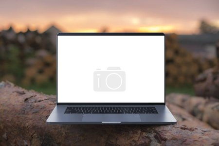Photo for A laptop with a colorful screen on wooden beams. Laptop in focus. High detailed. - Royalty Free Image