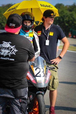 Photo for ADAC junior cup  3 - 5 August 2018. Czech Grand Prix. Motorbike ( motorcycle ) ring race. - Royalty Free Image