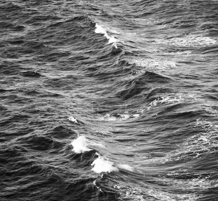 Photo pour Ondes océaniques avec petits capuchons blancs fond en noir et blanc - image libre de droit