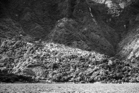 Photo for Town of Santa Cruz La Laguna on Lake Atitlan, Guatemala, Central America in black and white - Royalty Free Image