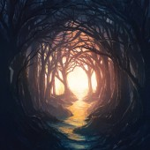 A dark forest leading to a colorful and bright opening.