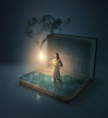 Photo pour Une femme dans une Bible avec de la fumée en forme de coeur . - image libre de droit