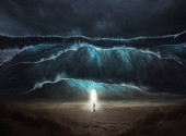A man finds an open door in the middle of a storm and tsunami