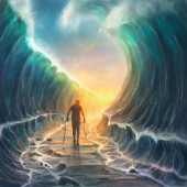 A man with broken chains walks through a parted sea