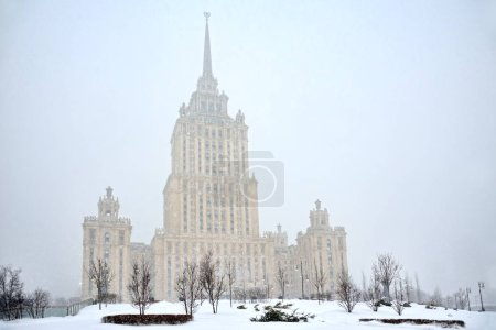 Stalin Skyscraper in Heavy Snowfall