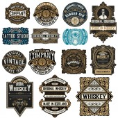 Mega pack of 14 labels and banners Vector layered