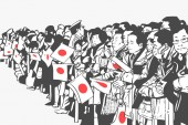Illustration of Japanese crowd waving flags at golden week celebration