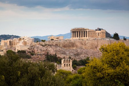 Photo for Athens seen from Philopapou hill with views to Herodium , Acropolis and the Parthenon, Attica, Greece - Royalty Free Image