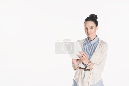 Photo for Portrait of smiling woman in casual clothing with digital tablet isolated on white - Royalty Free Image