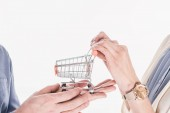 cropped shot of couple holding empty little shopping trolley in hands together isolated on white