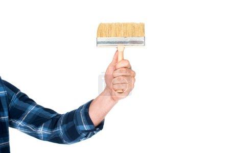 cropped shot of man holding paint brush isolated on white background