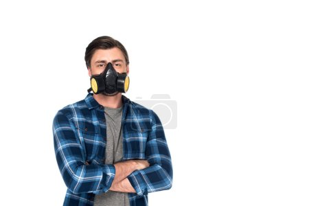man in respirator with crossed hands isolated on white background