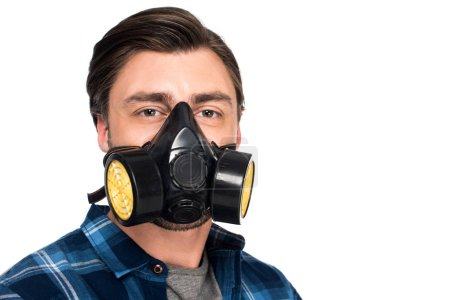 portrait of young man in respirator isolated on white background