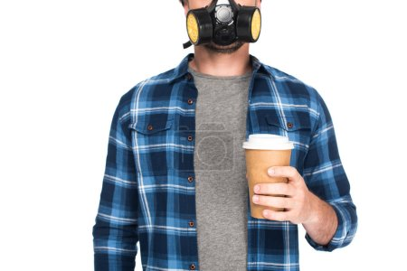 cropped shot of man in respirator holding coffee cup isolated on white background