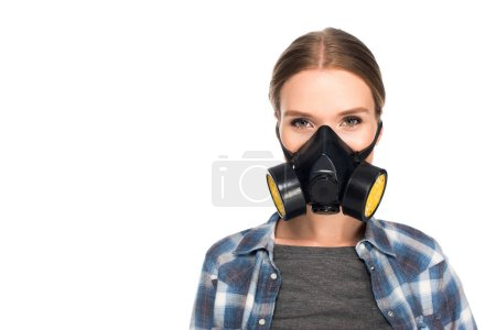 portrait of woman in respirator isolated on white background