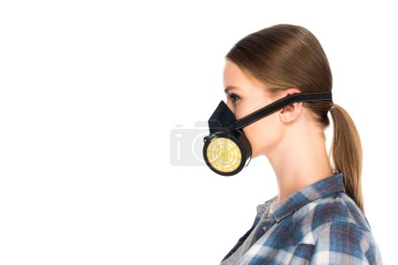 side view of woman in respirator isolated on white background