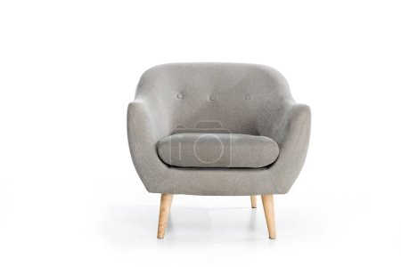 cozy empty modern grey armchair on white