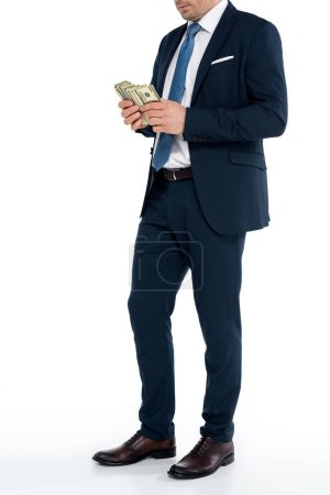 cropped shot of businessman counting dollar banknotes on white