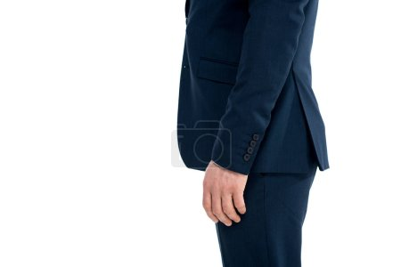 cropped shot of businessman in formal wear standing isolated on white