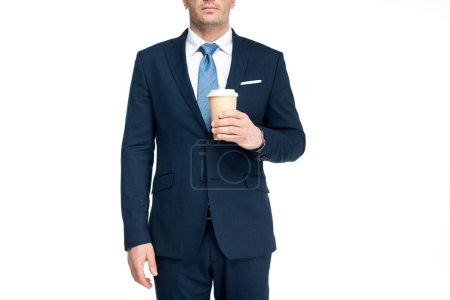 cropped shot of businessman holding paper cup with coffee to go isolated on white