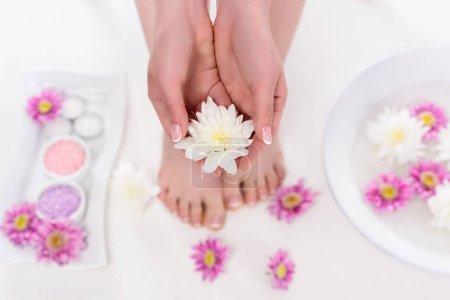 Photo pour Vue partielle de fleur holding femme pieds nus sur la procédure en salon de beauté - image libre de droit