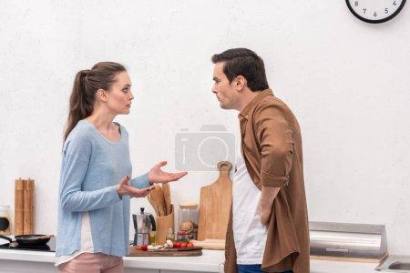 Photo pour Vue latérale du couple adulte se disputant à la cuisine - image libre de droit