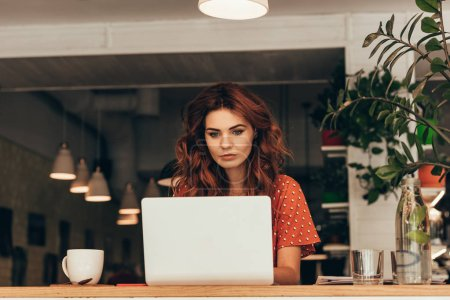 portrait of young blogger working on laptop in coffee shop