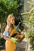 high angle view of beautiful smiling woman holding box with flower pots and looking away in greenhouse