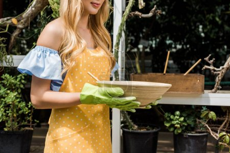 cropped shot of young woman in rubber gloves holding bowl while working in greenhouse