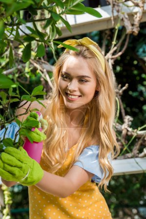 beautiful smiling young woman holding sprayer and watering green plant