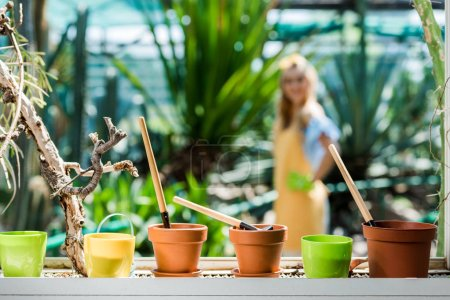 close-up view of pots with gardening tools and young woman standing behind in greenhouse