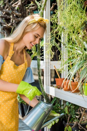 smiling young blonde woman in rubber gloves watering green plants in greenhouse