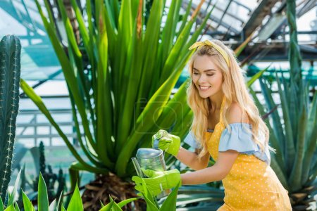 beautiful smiling young woman in rubber gloves watering plants in greenhouse