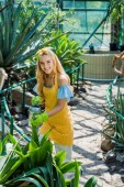 high angle view of beautiful girl watering plants and smiling at camera in greenhouse