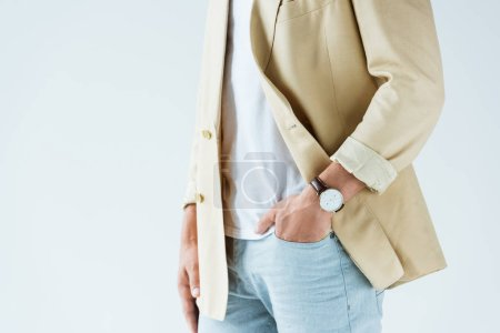 Cropped view of stylish man wearing jacket and watch isolated on white background