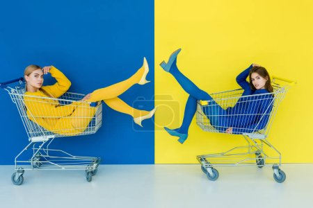 Photo for Beautiful brunette and blonde girls riding in shopping carts on blue and yellow background - Royalty Free Image