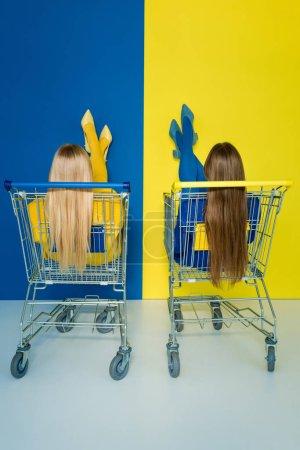 Photo for Rear view of female fashion models sitting in shopping carts on blue and yellow background - Royalty Free Image