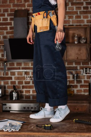 cropped shot of repairwoman with lightbulb and tools standing on kitchen table