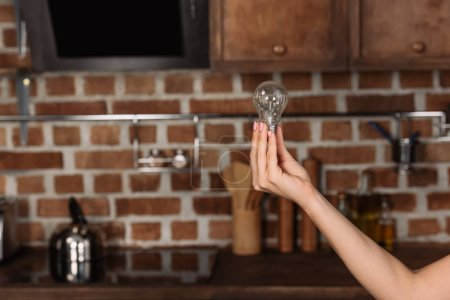 cropped shot of woman holding light bulb at kitchen