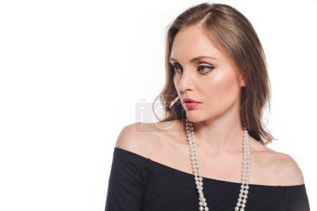 close up portrait of attractive elegant woman looking away isolated on white background