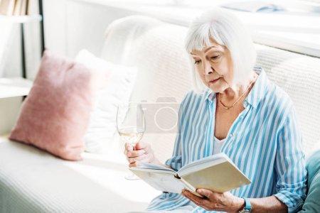 Photo pour Femme âgée concentrée avec verre de vin livre de lecture sur le canapé à la maison - image libre de droit