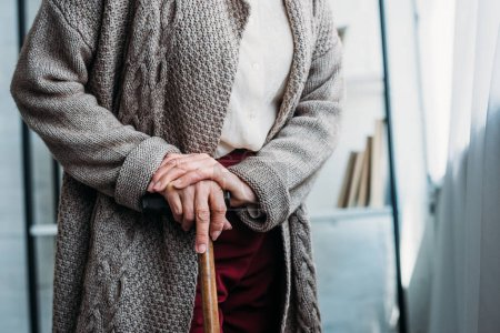 cropped shot of senior lady with wooden walking stick standing at home