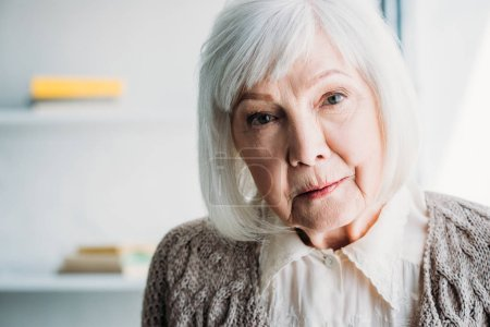 portrait of grey hair lady in knitted jacket looking at camera at home