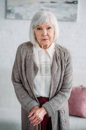 portrait of grey hair lady with wooden walking stick looking at camera at home